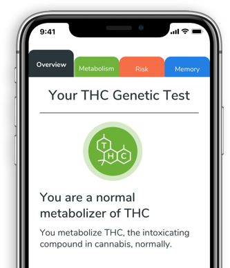 A THC genetic test result displayed on a smartphone